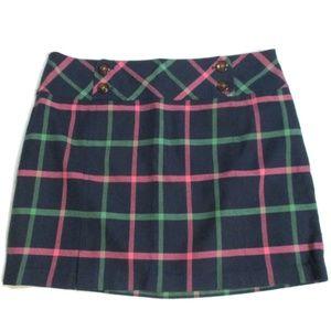 Vineyard Vines Navy Pink Green Plaid Skirt 14